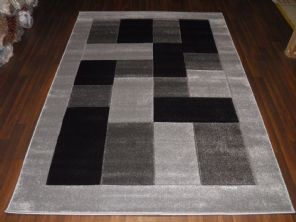 BLOCKS RANGE WOVEN RUG HAND CARVED APROX 6X4FT 120X170CM SILVER/BLACK GREAT RUGS